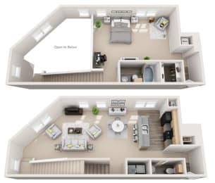 Floor Plan Loft B 1BR 1.5BA
