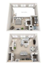 Floor Plan Loft A 1BR 1.5BA