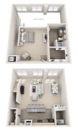 Floor Plan Loft D 1BR 1.5BA