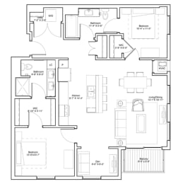 Vintage on Selby Apartments 2 Bedroom & Den Apartment Floor Plan, opens a dialog