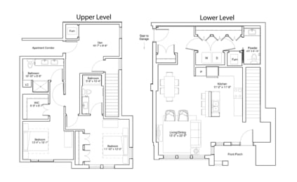 Vintage on Selby Apartments 2 Bedroom Townhome Layout