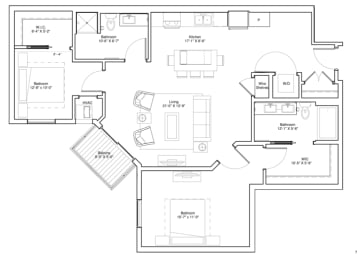 Vintage on Selby Apartments 2 Bedroom Apartment Floor Plan, opens a dialog