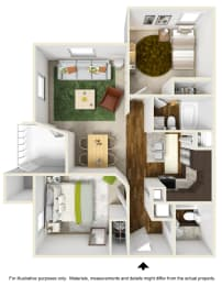 Oasis Falls Floor Plan at The Falls Apartments in Raleigh NC, opens a dialog