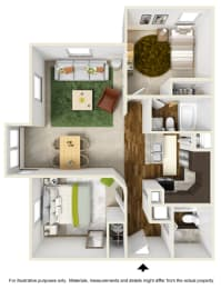 Cascade Falls Floor Plan at The Falls Apartments in Raleigh NC, opens a dialog
