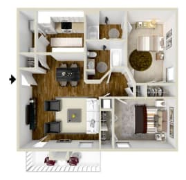 Floor Plan Two Bedroom-Two Bath