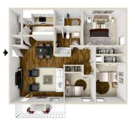 Floor Plan 2 Bedroom 2 Bath w/Study