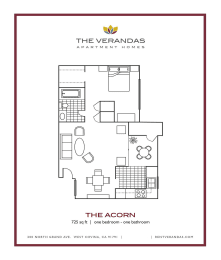1 Bed 1 Bath Floor plan at The Verandas Apartment Homes, West Covina, California