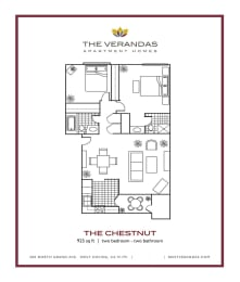 2 Bed 2 Bath Floor plan at The Verandas Apartment Homes, 200 N. Grand Avenue, 91791
