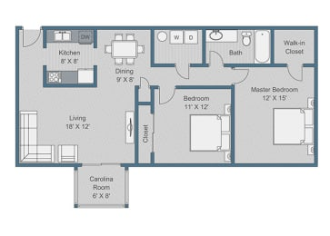 2x1 Deluxe Floor Plan at Sterling Bluff Apartments