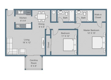 2x2 Deluxe Floor Plan at Sterling Bluff Apartments