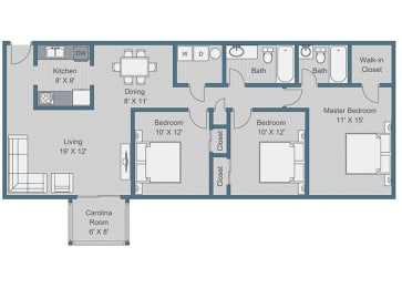 3x2 Deluxe Floor Plan at Sterling Bluff Apartments