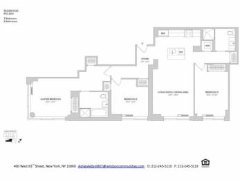 3BR 2Bth Floorplan at The Ashley