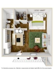 Studio Floor Plan at The Grove at Lyndon, Louisville