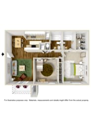 2 Bedroom 2 Bath Floor Plan at The Grove at Lyndon, Louisville, KY, 40222