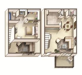 The Lakehurst Floor Plan at Woodcreek Apartments, North Carolina, 27511