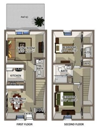 The Windsor 2 Floor Plan at South Square Townhomes, North Carolina, 27707, opens a dialog