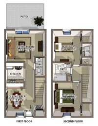 The Windsor Floor Plan at South Square Townhomes, Durham, North Carolina, opens a dialog