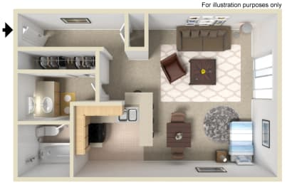 Aurora Floor Plan - Studio, Madison Park Apartment Homes, 92804