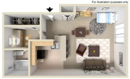 Manhattan Floor Plan - Studio, at Madison Park Apartment Homes, Anaheim, California