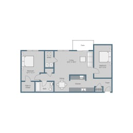 1 Bedroom/ 1 Bath w Den Floor Plan at Sterling Beaufont Apartments