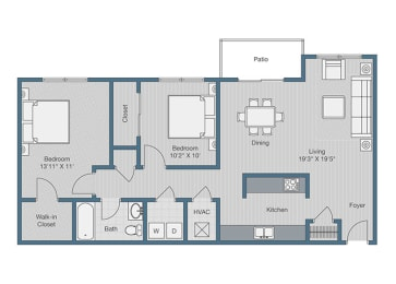 2 Bedroom/ 1 Bath Floor Plan at Sterling Beaufont Apartments