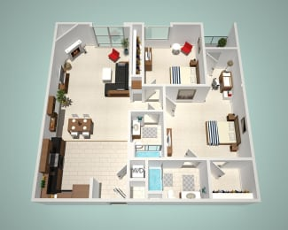 2 Bed - 2 Bath E Floor Plan at The Social, North Hollywood, California