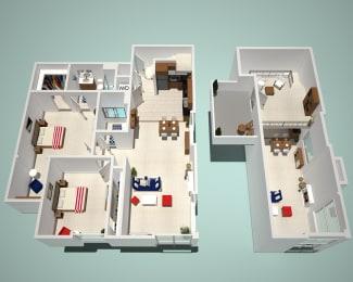 2 Bed - 2 Bath F1 - Penthouse Floor Plan at The Social, California, 91601