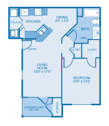 Broyhill Floor Plan at Ethan Pointe Apartments, Burlington, 27215