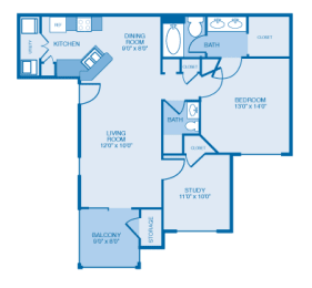 Colonial Floor Plan at Ethan Pointe Apartments, North Carolina