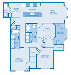 Victorian Floor Plan at Ethan Pointe Apartments, Burlington, North Carolina
