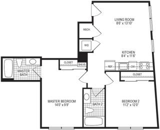 Spark 2 Bedroom Floorplan