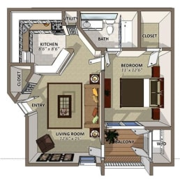 The Dogwood Floor Plan at Sawgrass Apartments in Orlando FL, opens a dialog