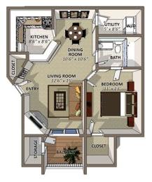 The Gardenia Floor Plan at Sawgrass Apartments in Orlando FL, opens a dialog