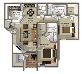 The Magnolia Floor Plan at Sawgrass Apartments in Orlando FL