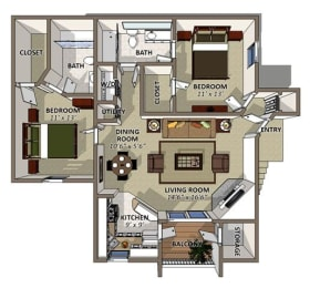 The Camilia Floor Plan at Sawgrass Apartments in Orlando FL, opens a dialog