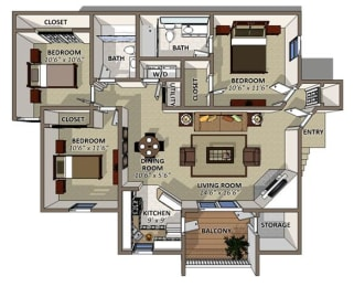 The Poinsettia Floor Plan at Sawgrass Apartments in Orlando FL, opens a dialog