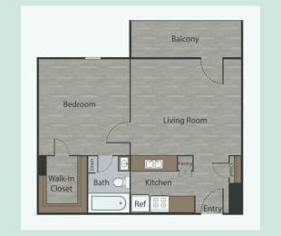 A1 1 Bed 1 Bath Apartments in Metropolitan at Mesh Properties, Austin, Texas