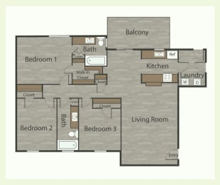 C1 3 Bed 2 Bath Apartments in Mesh I at Mesh Properties, Austin, TX, 78741