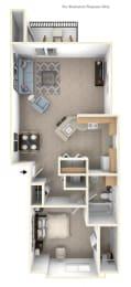 1 Bed 1 Bath One Bedroom End Floor Plan at Brentwood Park Apartments, La Vista, NE
