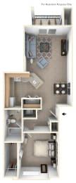 1 Bed 1 Bath One Bedroom Floor Plan at Brentwood Park Apartments, Nebraska, 68128