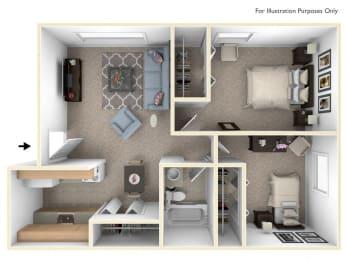 2 Bed 1 Bath Two Bedroom Floor Plan at Briarwood Apartments, Benton Harbor, MI