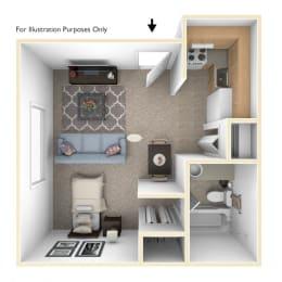 Studio Floor Plan at Brookside Apartments, Michigan