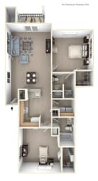Two Bedroom Two Bath Floorplan at Colonial Pointe at Fairview Apartments, Bellevue, NE, 68123