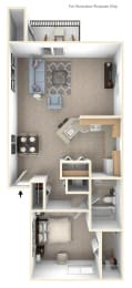 One Bedroom One Bath End Floorplan at Dupont Lakes Apartments, Indiana, 46825