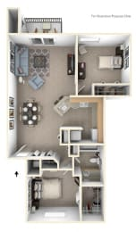 Two Bedroom Two Bath Floorplan at Emerald Park Apartments, Kalamazoo