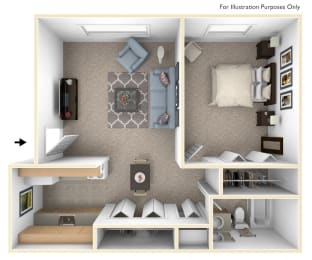 One Bedroom One Bath Floorplan at Fairlane Apartments, Springfield, Michigan