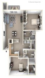 Traditional Two Bedroom Two Bath Floorplan at Green Ridge Apartments, Grand Rapids
