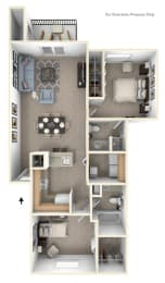 Two Bedroom Two Bath Floorplan at Huntington Cove Apartments, Merrillville, Indiana
