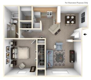 Seville One Bedroom Floor Plan at Irish Hills Apartments, Indiana, 46614