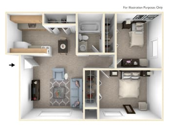 Standard Two Bedroom Floor Plan at Irish Hills Apartments, South Bend